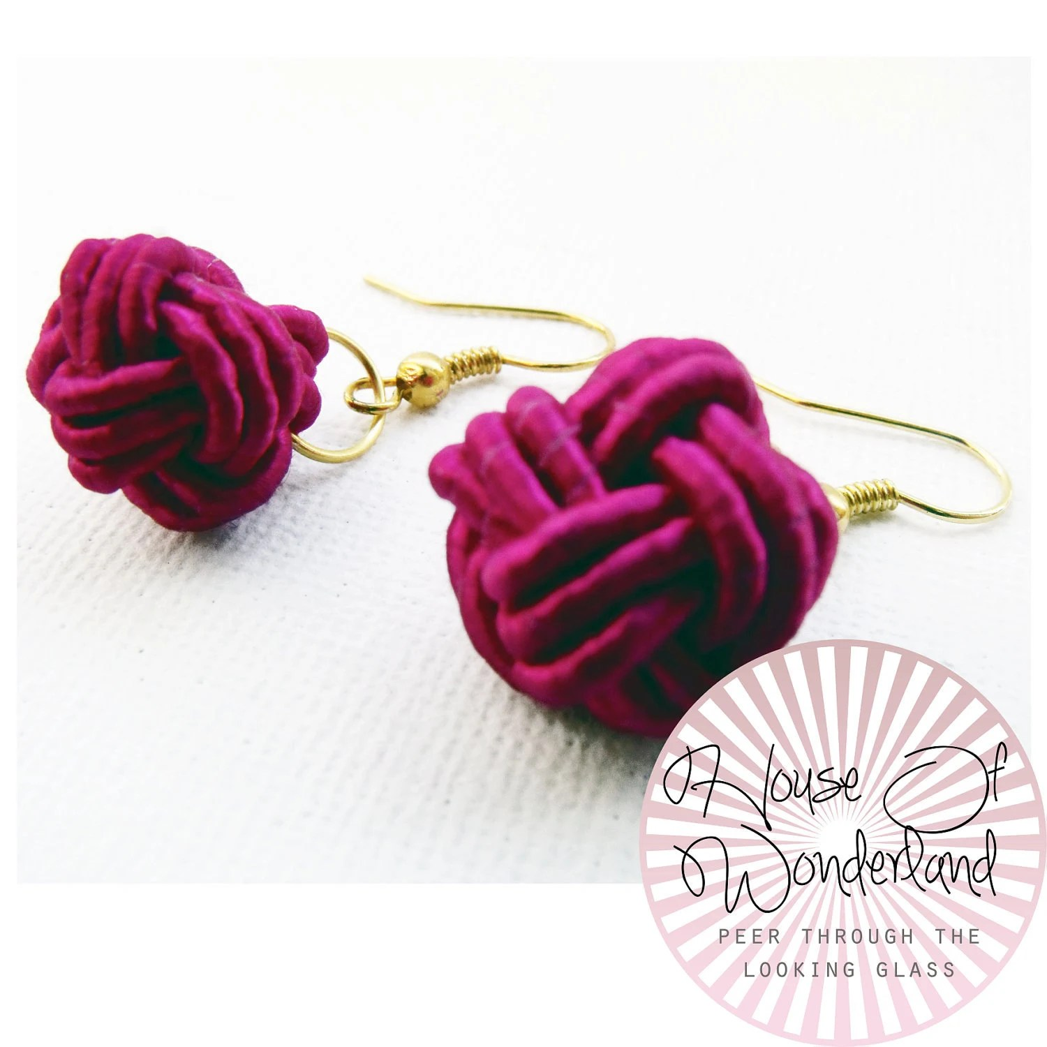 Pink - Monkey's Fist Knot Earrings