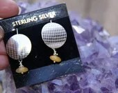 Round Earrings, sterling silver disc w/ Yellow Aventurine dangle by Crow's Creations
