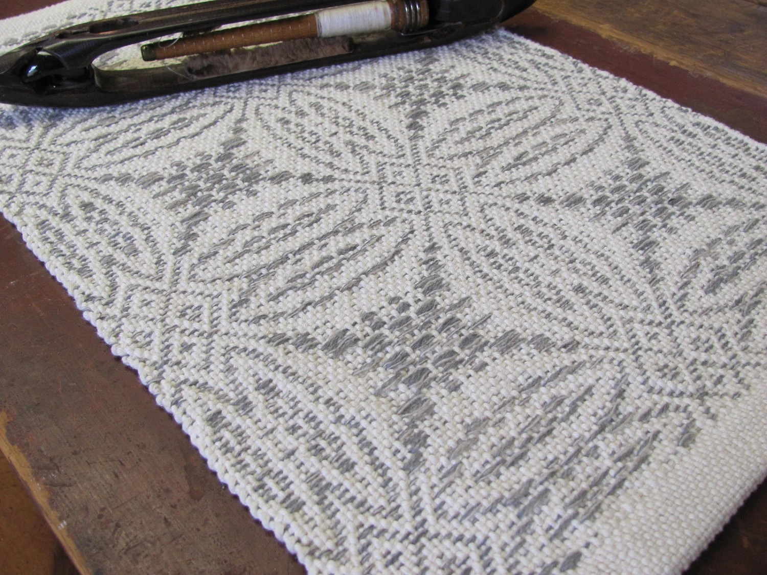 Handwoven Table Runner in Natural Ivory White & Stone Gray Heather Cotton and Wool Traditional Overshot