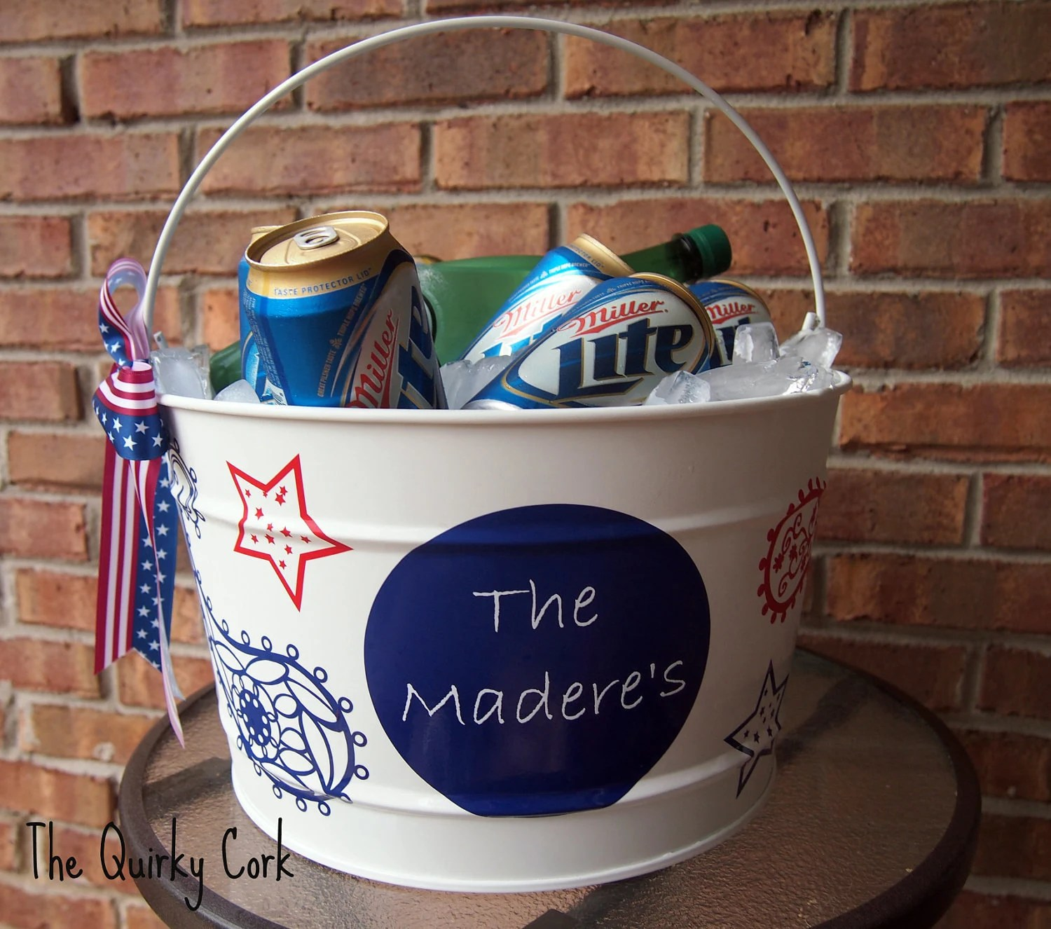 Fourth of July Personalized 16 quart Ice Bucket - TheQuirkyCork