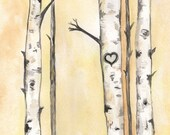 Never Ending Love/Birch Trees with heart/ Love/ Romance/watercolor print/grey and yellow/gray and yellow - kellybermudez