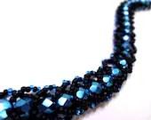 Intense Black and Blue Bracelet - MegansBeadedDesigns