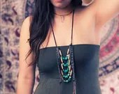 Bohemian Tribal Necklace - Southwestern Leather Necklace w/ Turquoise - SoulMakes