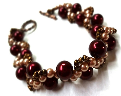 Red and Cream Pearl Bracelet with Bronze Beadwork - MegansBeadedDesigns