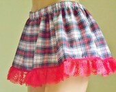 LUCY Red Hot Summer Plaid Micro MINI Skirt L XL Plus - dontchajustluvit