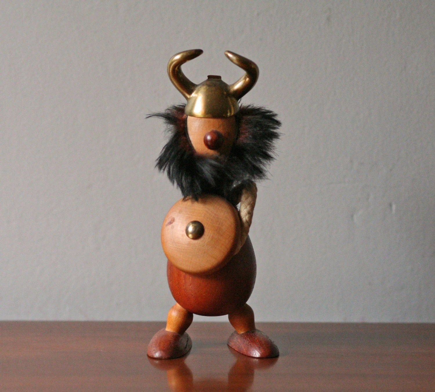 vintage teak Danish viking figure