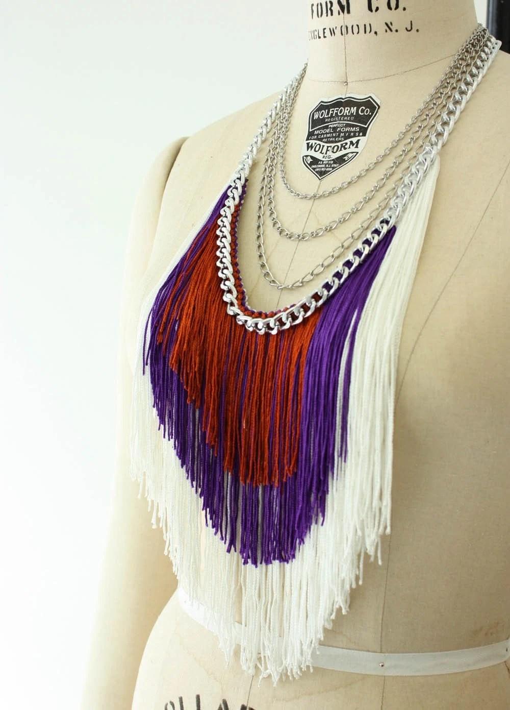 Fringe and Chain Necklace - White, Grape, Cinnamon