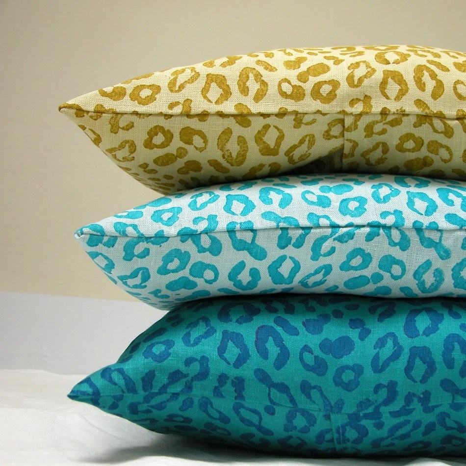 Leopard Peacock lumbar pillow cases set of three