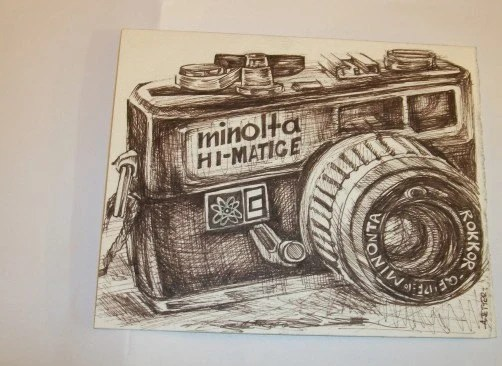 Vintage Minolta HiMatic E  Camera Original Drawing Note Card