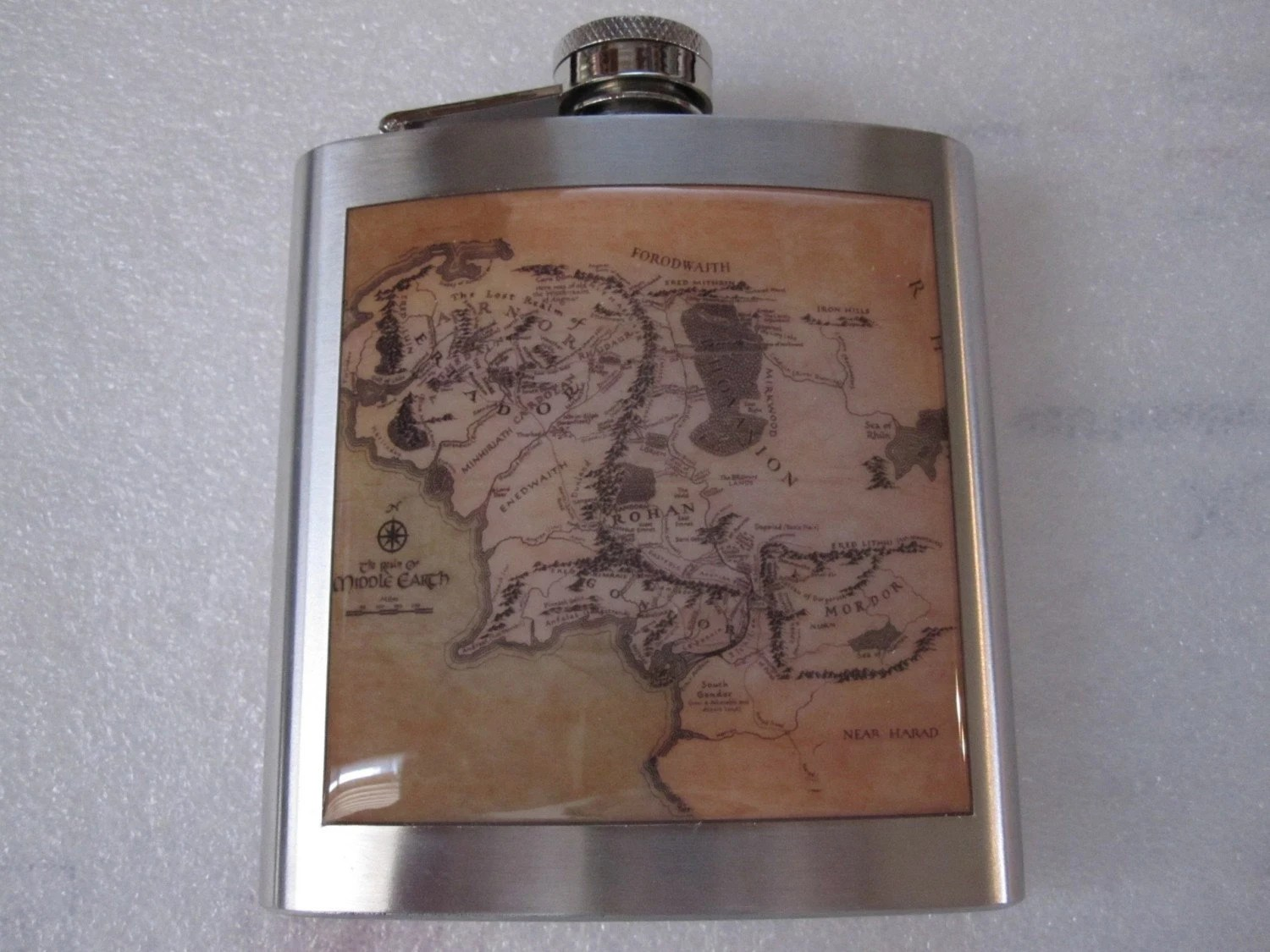 Map Of Middle Earth Liquor Hip Flask Fantasy Stainless Steel 6 ounce