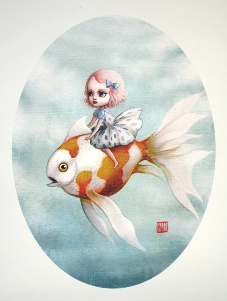 LAST ONE - Abbi and the Goldfish - Limited Edition signed and numbered 8x10 Fine Art Print -unframed