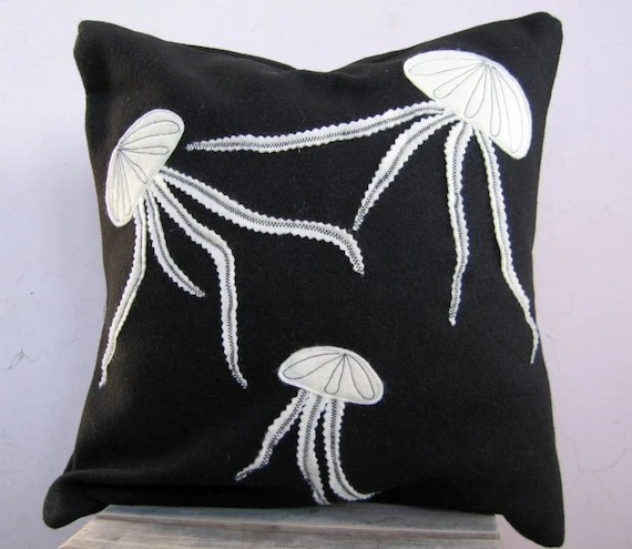 Free Shipping - Throw Pillow: black and white jellyfish in recycled felt, eco friendly pillow