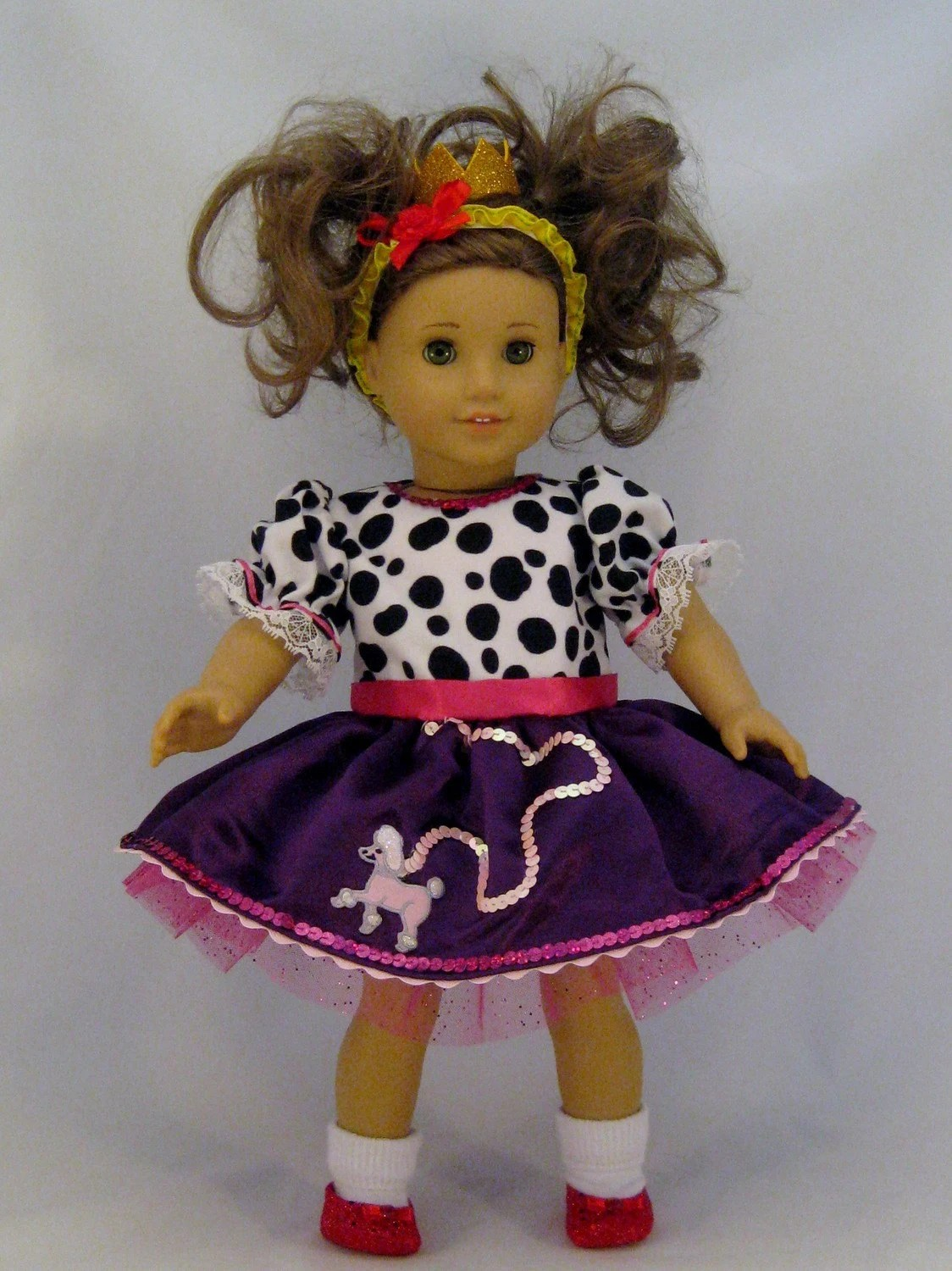 Doll Clothes Like Fancy Nancy Poodle Dress fits American Girl and other 18 inch Dolls