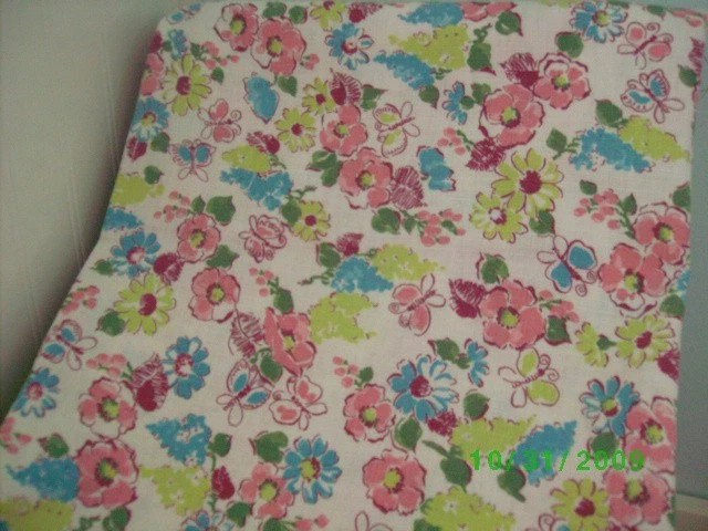 Vintage Cotton Feed Sack   Pink Rose Turquoise & Lime   on White