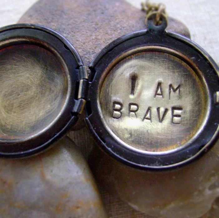 Hand Stamped Locket Necklace with Secret Message - I Am Brave