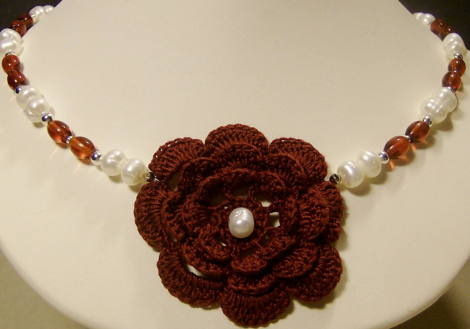 Crochet Irish Rose and Pearl Necklace