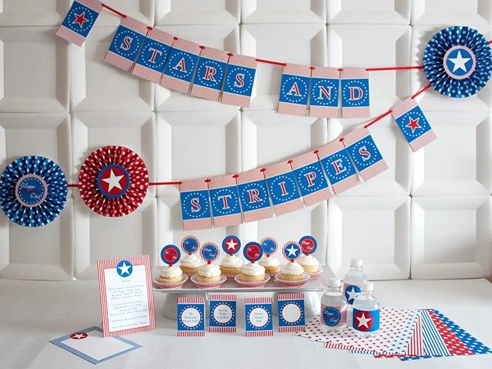 PATRIOTIC FLAIR Collection - Printable Red, White and Blue Party