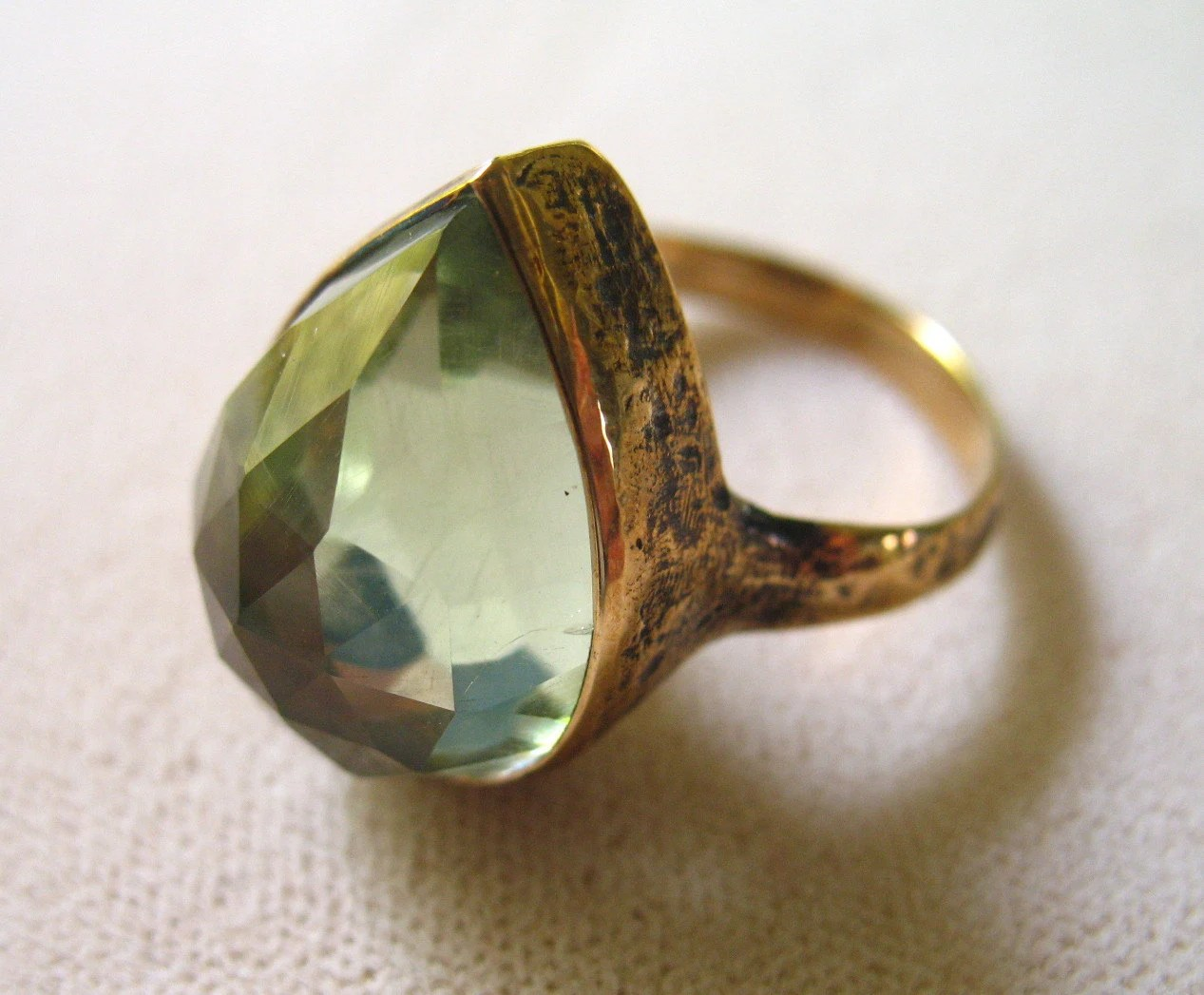 Bronze and Green Amethyst Teardrop Ring