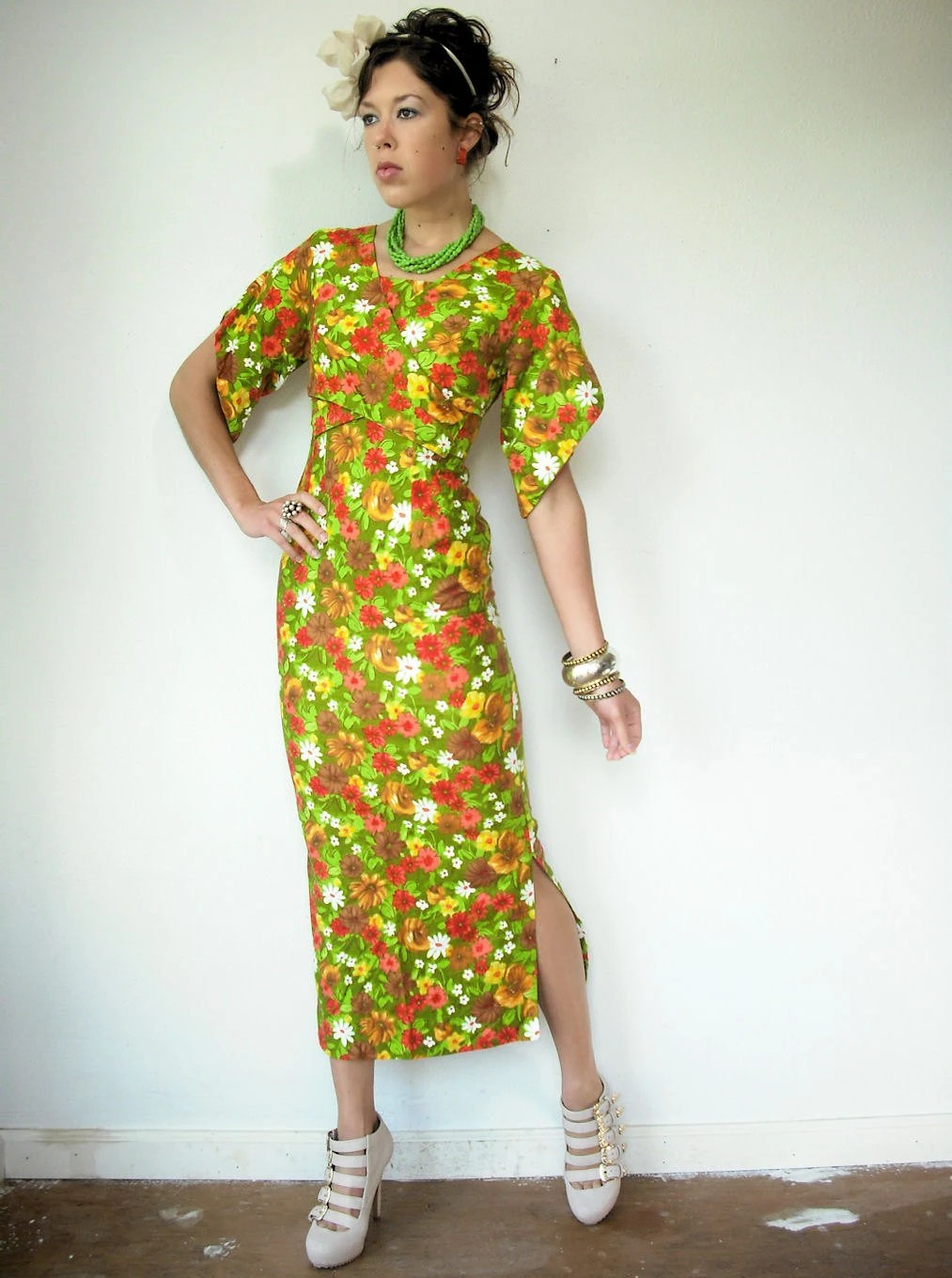 Vintage 60's Hawaiian Floral KIMONO Sleeve Hourglass Wiggle Wrap Pencil Resort Dress