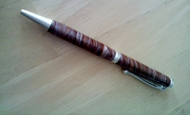 SALE - Handmade Ink Pen - Textured Clay & Satin Silver Slimline Ball Point Twist Writing Pen - Cross Style- BPT-SL-2086