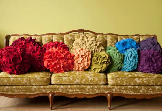 Custom color ruffle rose pillow LARGE - as seen on Daily Candy