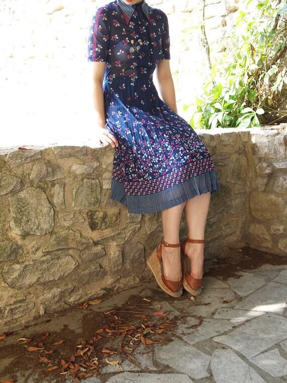 Vintage light indigo dress, xs, Japan