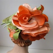 Vintage 1930s Green Straw Tilt Topper Hat Orange Floral Roses 1940s Perch