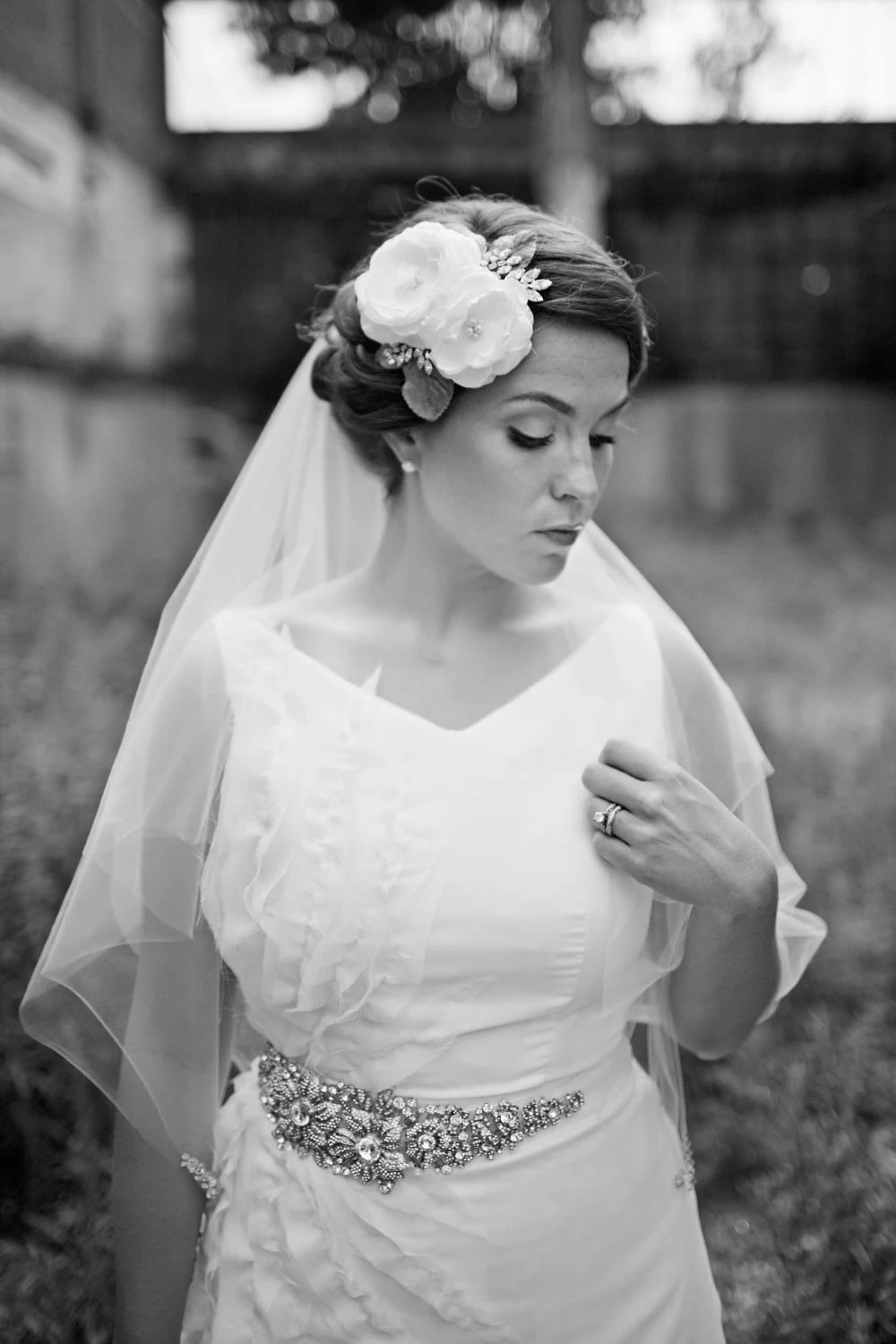 Single Layer Elbow Length Tulle Veil with Swarovski Rhinestone Corners in Ivory or White