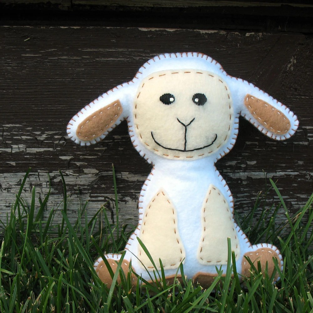 Happy Lamby Sewing Pattern - Hand Embroidered Plush Felt Stuffed Animal - PDF - Easy - Finished Product May be Sold