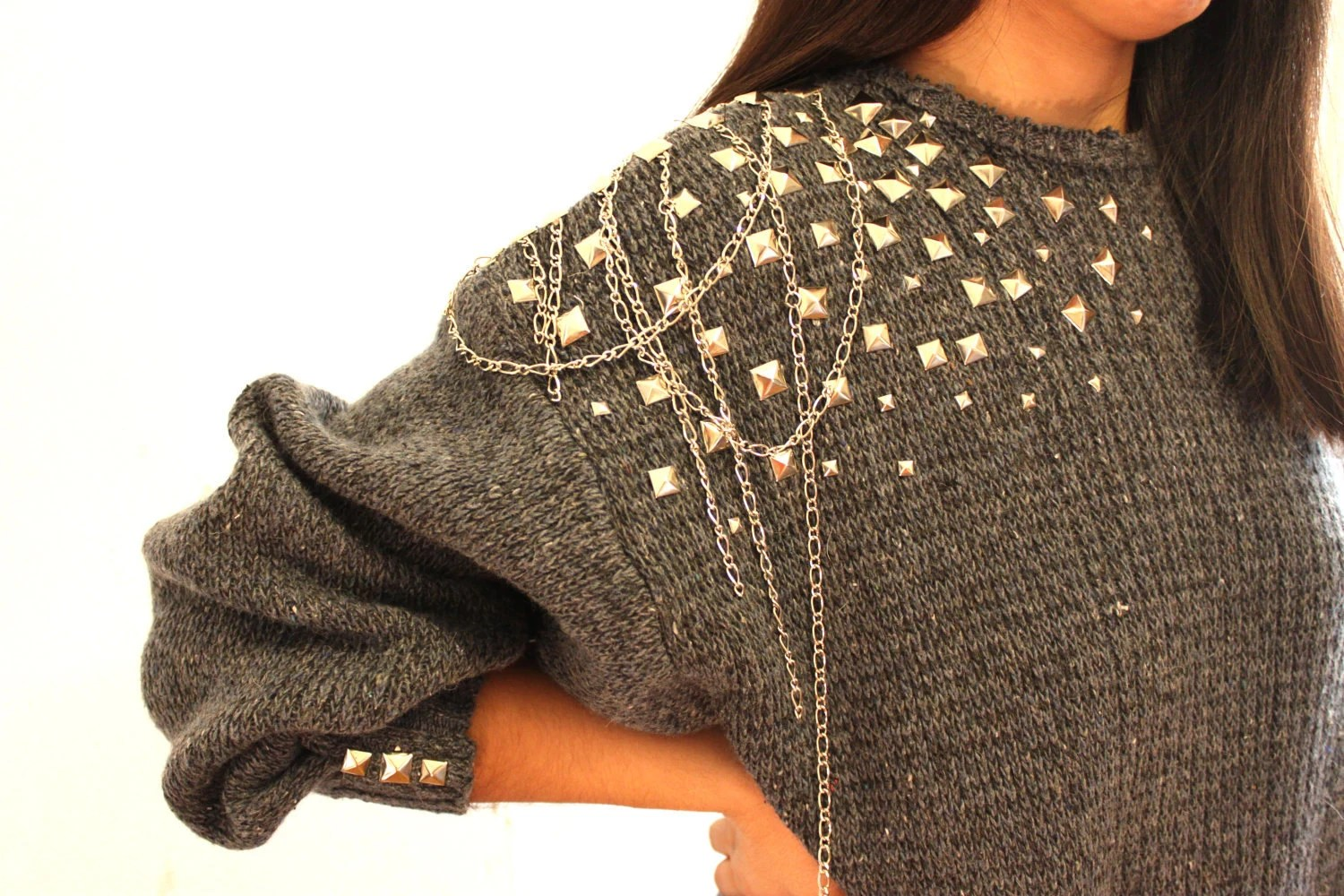 Metal studded pure wool one of the kind sweater
