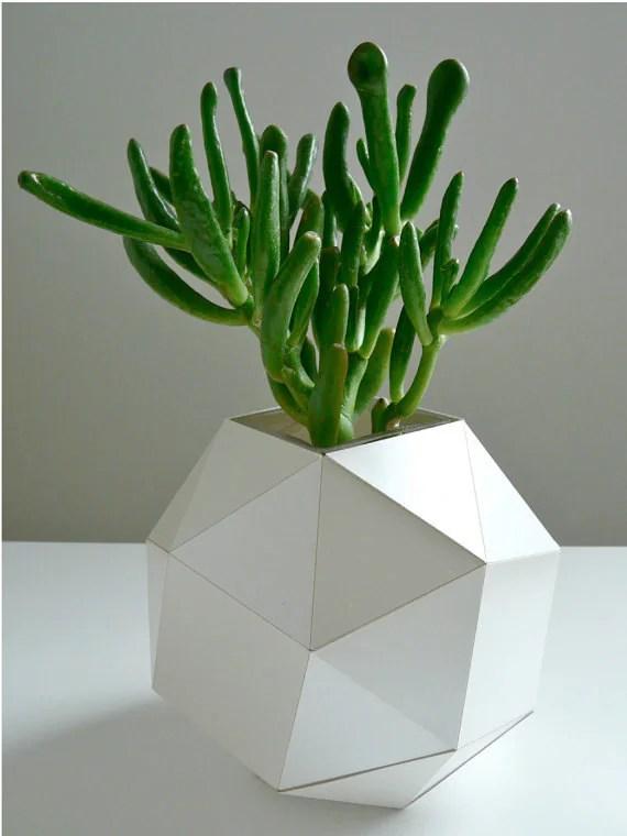 Pearl Polyhedron Paper Vase - Origami Inspired Design - UrbanAnalog