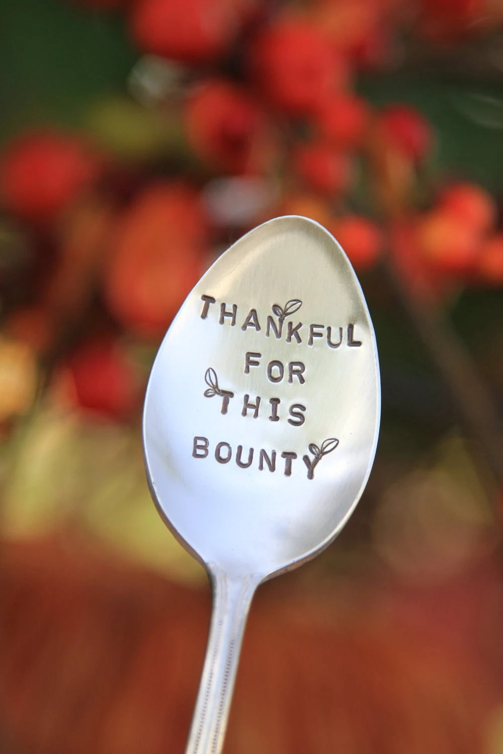Thanksgiving Autumn Garden Marker.... Handstamped Vintage Silverplated Serving Spoon...Thankful for this Bounty