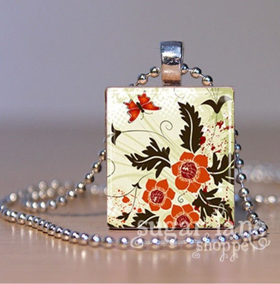 Fall Floral Butterfly Necklace - (SFB3 - Brown Orange Ivory Red) - Scrabble Tile Pendant with Chain