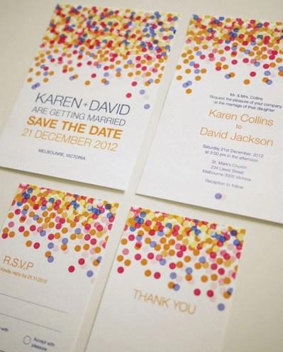 Colorful Confetti - Modern Wedding Invitation Suite (PRINTABLE) - Set of 4