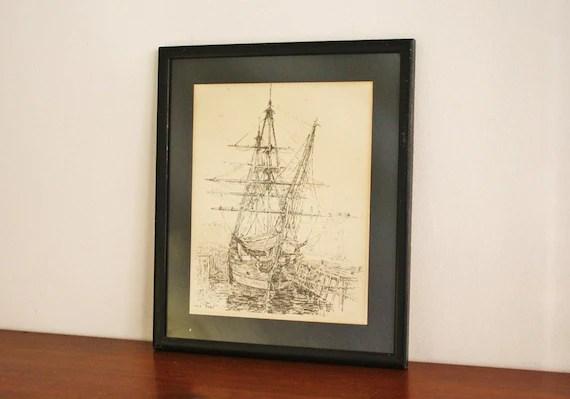 Vintage pen and ink illustration drawing framed, black and white