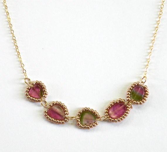 Padma & Pickles Jewelry: Completely Handmade in Hawaii-Watermelon Tourmaline  Karen Hilltribe Sterling Ball Chain Necklace - Padmaandpickles