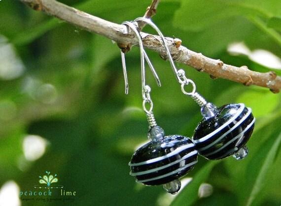 Lampwork & Water Sapphire earrings