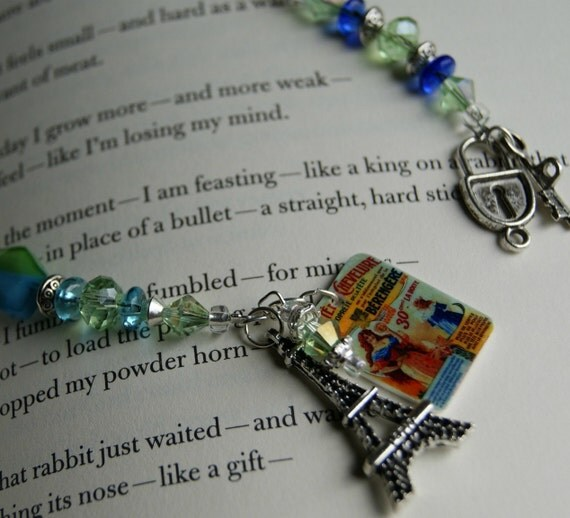Bookmark - Passion for Paris, Victorian steampunk vintage blue Bookmark