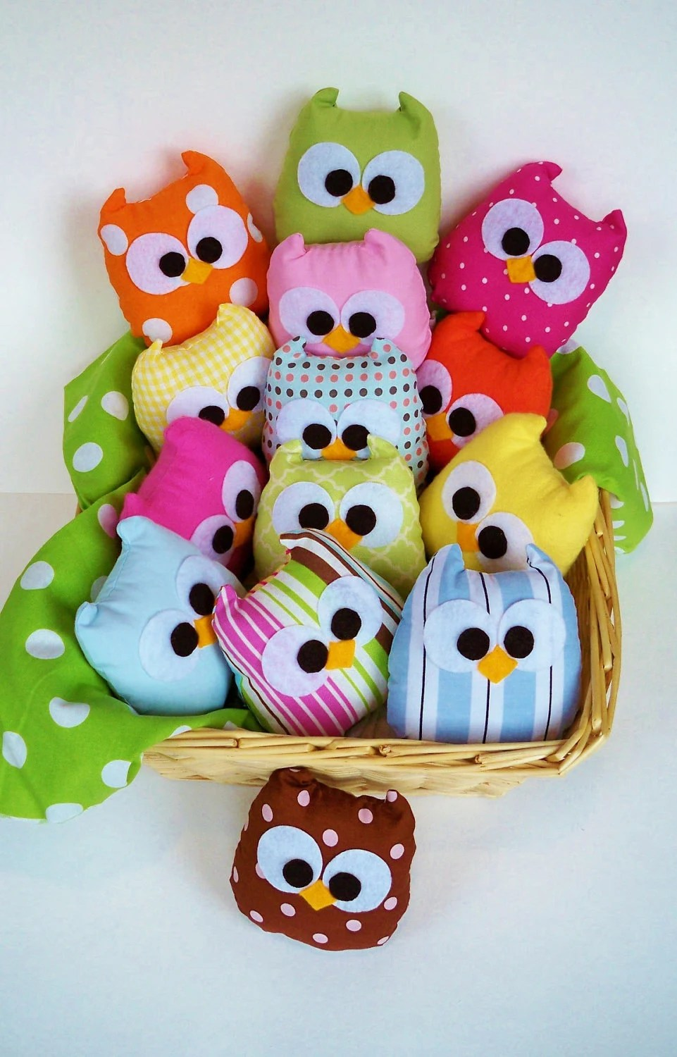 5 color plush mini owls