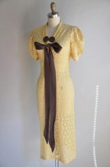 vintage 1930s dress // 30s lace dress // yellow and brown art deco lace dress