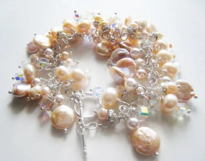 Pale pink creamrose pearl bracelet.  In silver and crystal.