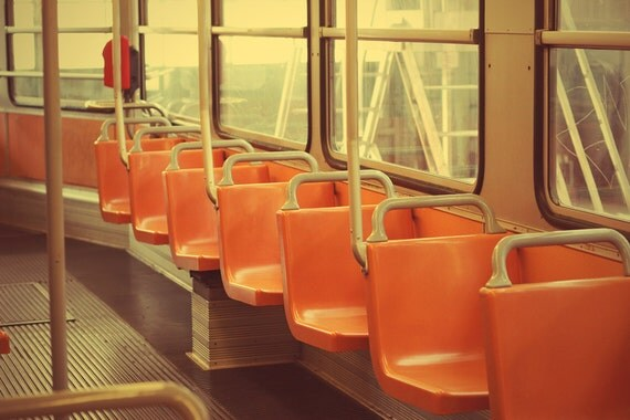 "Seats of Italian tram - 8""x12""  wall decor - orange - autumn colors"
