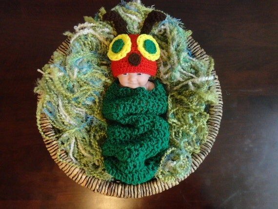 Hungry knitted caterpillar
