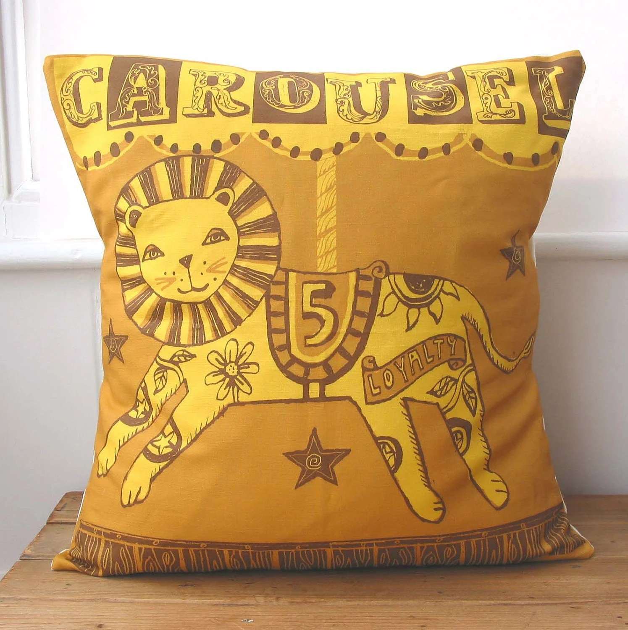 Handmade Fairground Carousel Merry-go-round pillow/cushion - Lion Design.(orange)