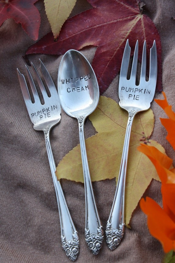 Pumpkin Pie & Whipped Cream Hand Stamped Silverplated Forks and Spoon
