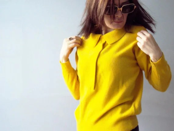 Vintage 80s Preppy Canary Yellow Woollen Sweater  Polo Jumper