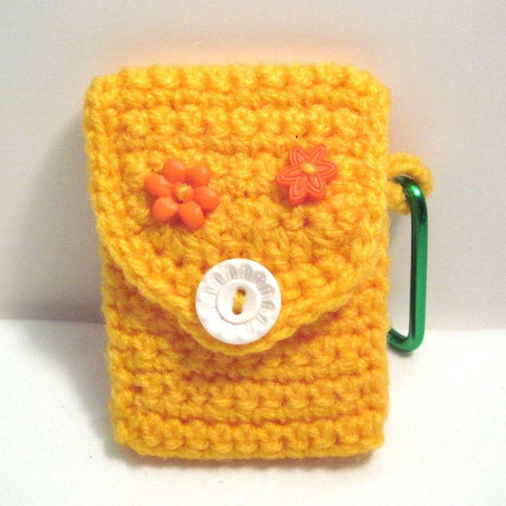 Business Card Case Handmade Crochet Yellow with Carabineer Christmas Gift