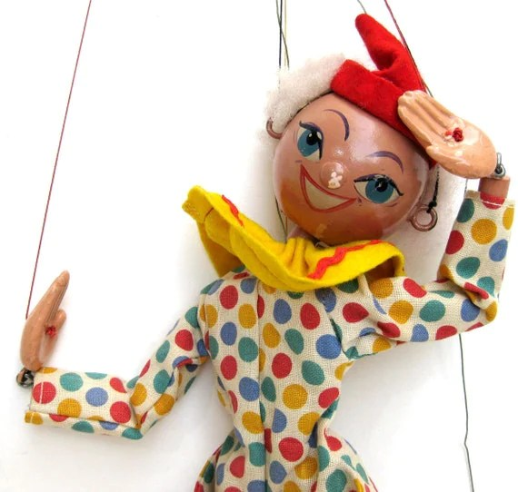 Vintage 50s Pelham Puppet Clown Harlequin - Cute Wooden Marionette Jointed Wood Doll Colorful Bright British English Christmas Toy Smile