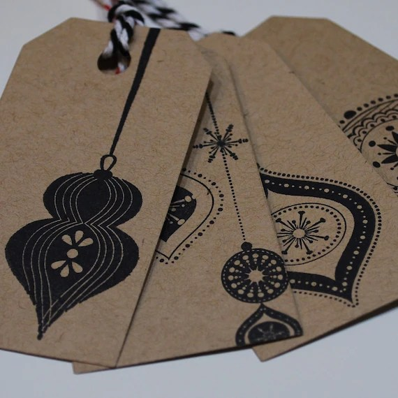 Christmas Gift Tags Pack of 8 Decorations Hand Stamped on Kraft Card