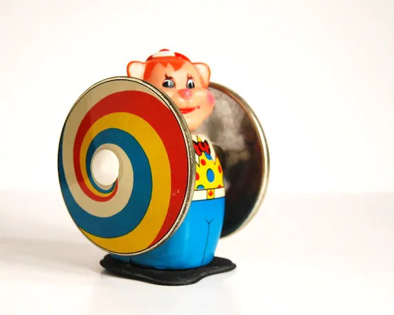 Vintage Tin Toy Clown Spinning Wind Up Toy / Etsy Black Friday, Etsy Cyber Monday